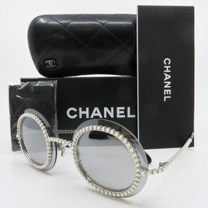 Chanel 71140 L2467 Silver Mirror Pearls and Round